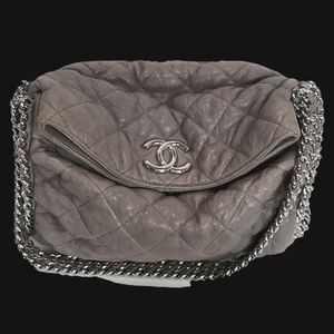 CHANEL Chain Around Hobo Quilted Handbag Taupe
